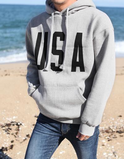 (그레이)락커룸  USA 기모 후드 티셔츠/여유있는 핏감,심플한 디테일의 이지후드